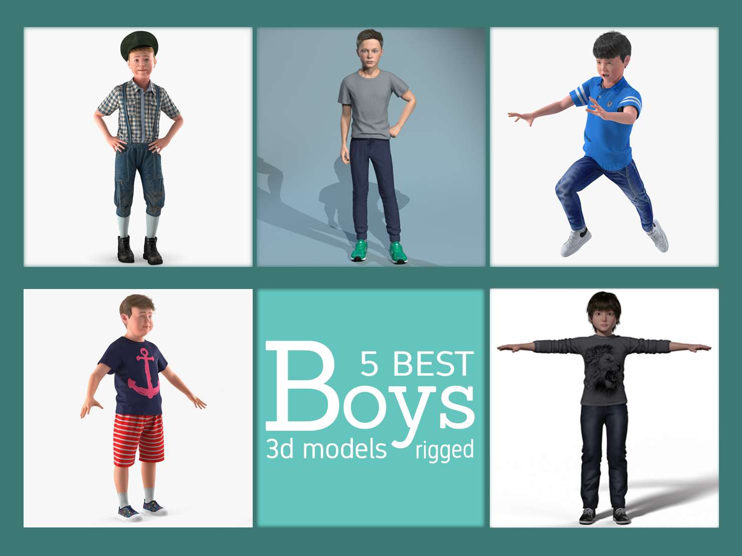 best boys 3d models rigged turbosquid