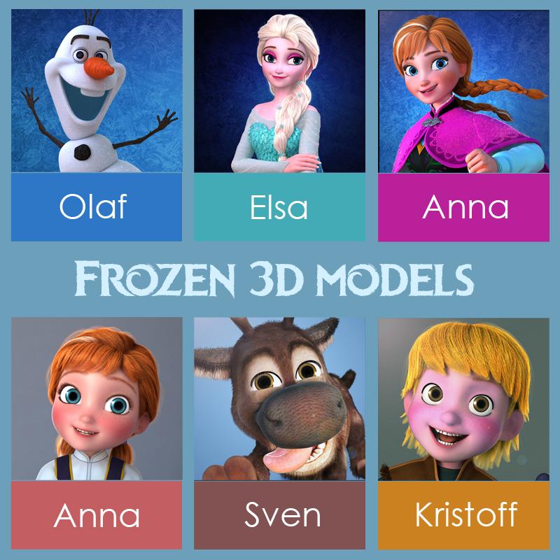 Frozen Disney characters rigged 3d models turbosquid