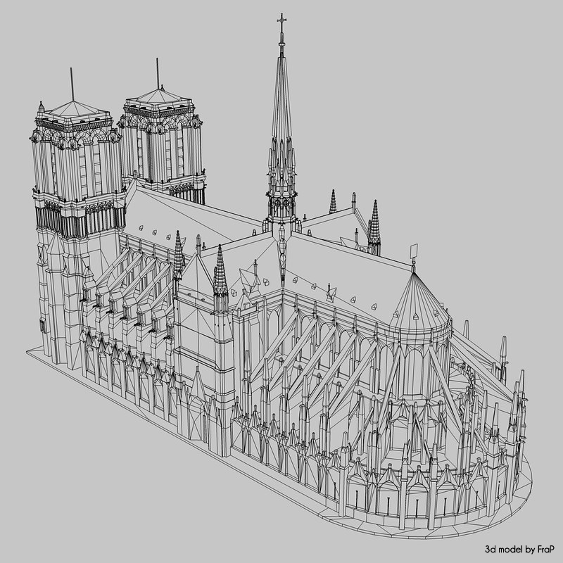 notre dame wireframe 3d model turbosquid