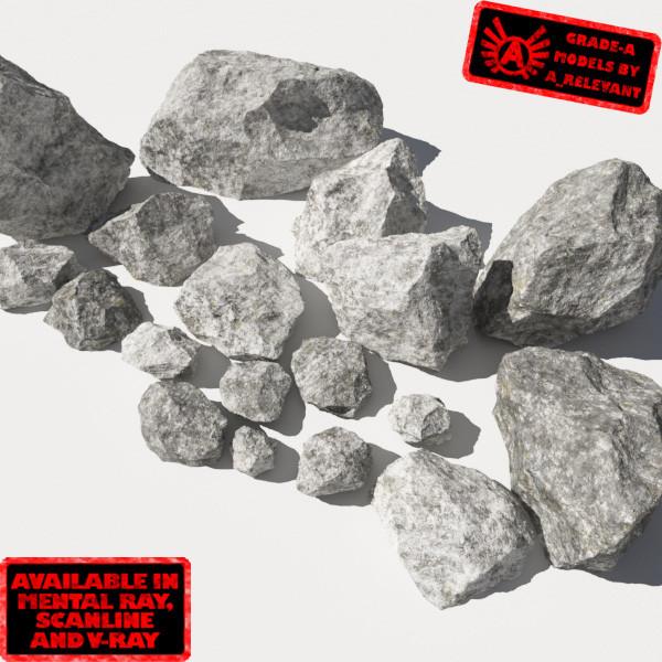 Rocks 11 Jagged RM19 - Chalk White 3D Rocks or Stones 3d model