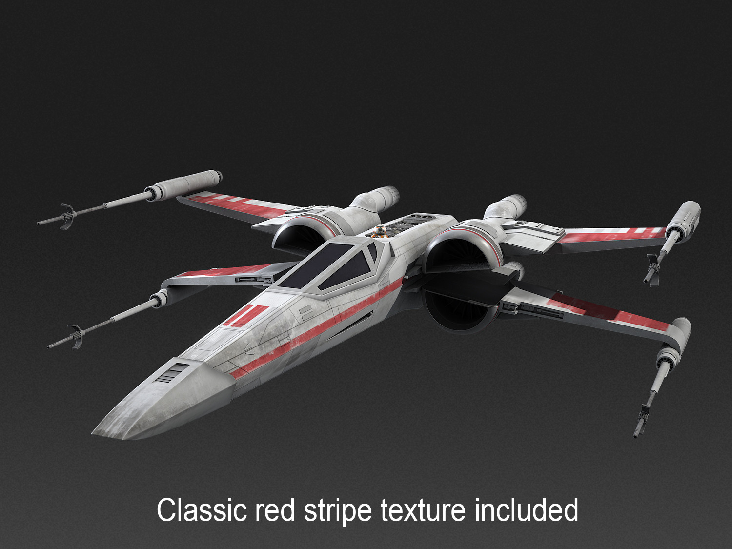 X wing 3dmodel red star wars