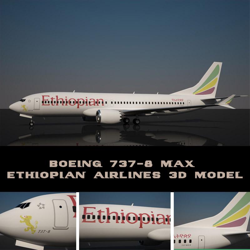 ethiopian boeing 737-8 max 3d model turbosquid