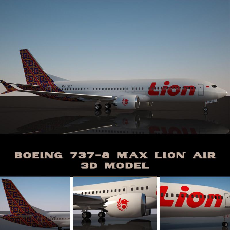 lion air boeing 737-8 max 3d model turbosquid