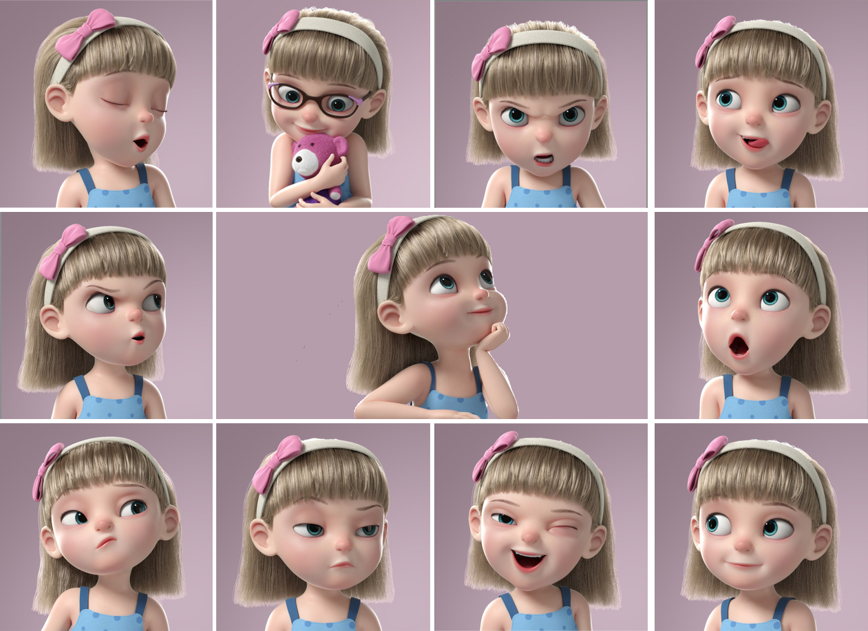 cartoon blonde little girl rigged 3d model turbosquid