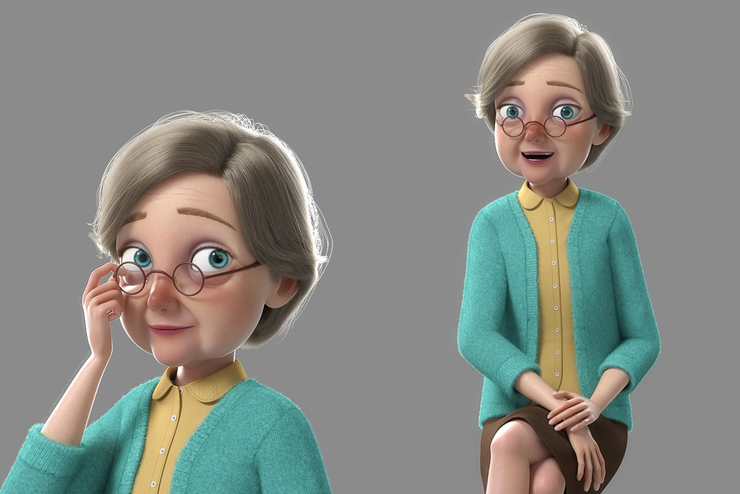 grandmother 3d model rigged turbosquid