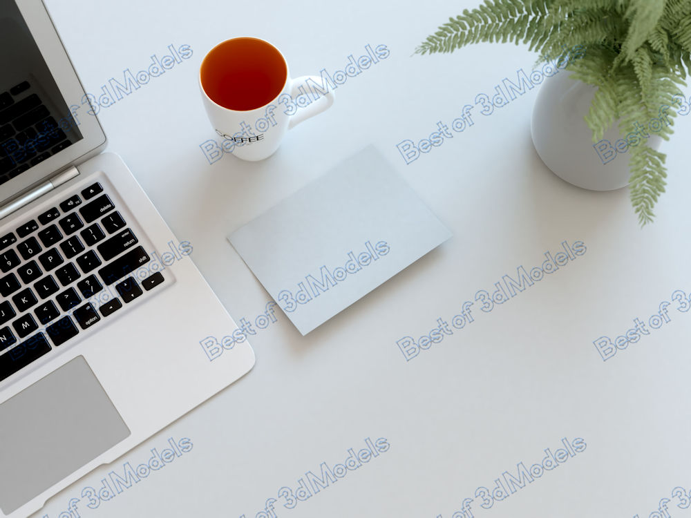 minimal desk with laptop and cup of coffee stock photo