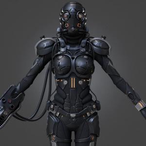 scifi female cyborg 3d model turbosquid