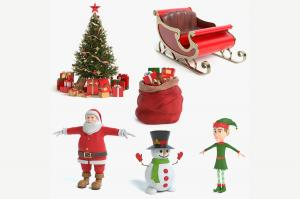 christmas collection 3d models turbosquid