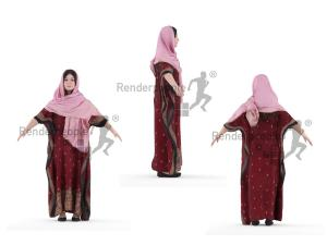 full body arab woman rigged 3d model renderpeople