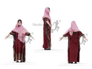 full body arab woman rigged 3d model renderpeople