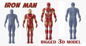 iron man with suit rigged 3d model turbosquid
