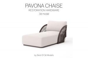 pavona chaise restoration hardware 3d model
