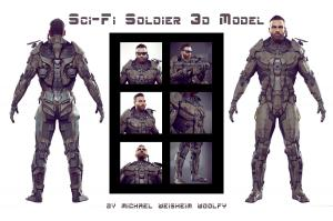 sci-fi soldier unreal unity 3d model turbosquid