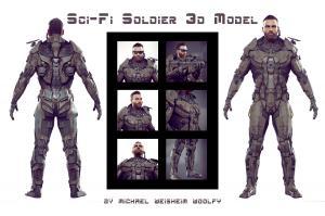 sci-fi soldier unreal unity 3d model turbosquid