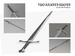 two handed sword 3d model turbosquid