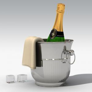 champagne bottle with bucket 3d model turbosquid