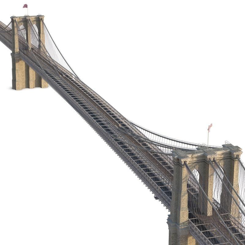 new york city manhattan bridge 3d model turbosquid