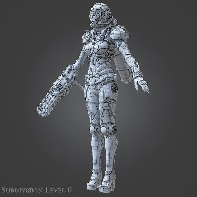 sci-fi fighter suit 3d model turbosquid