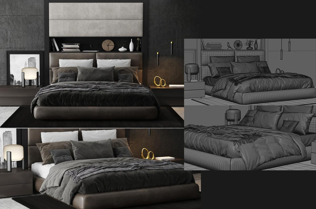 Poliform Dream Bed 3d model turbosquid
