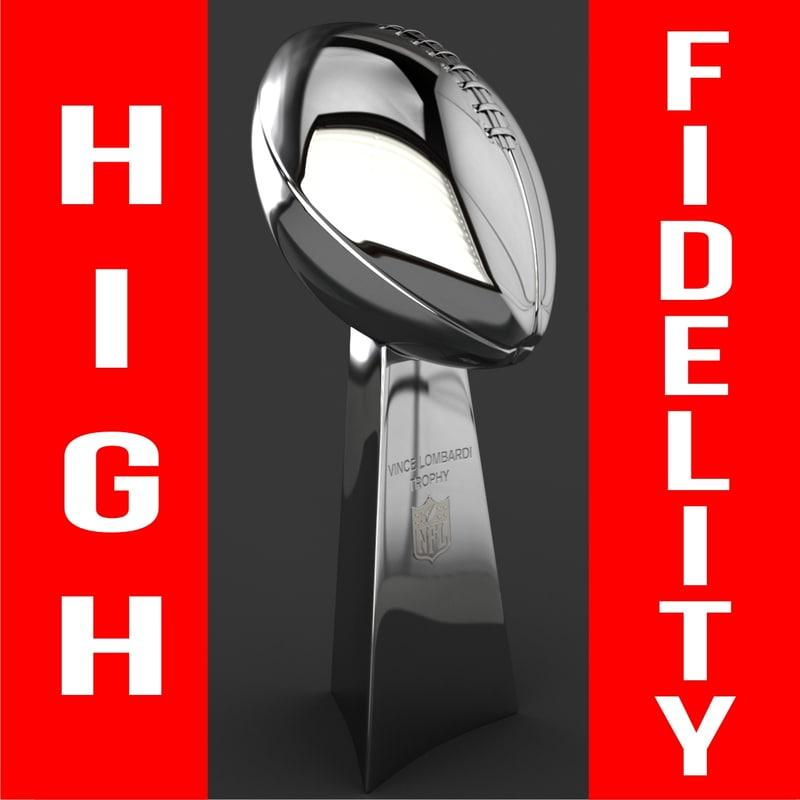 superbowl trophy 3d model turbosquid