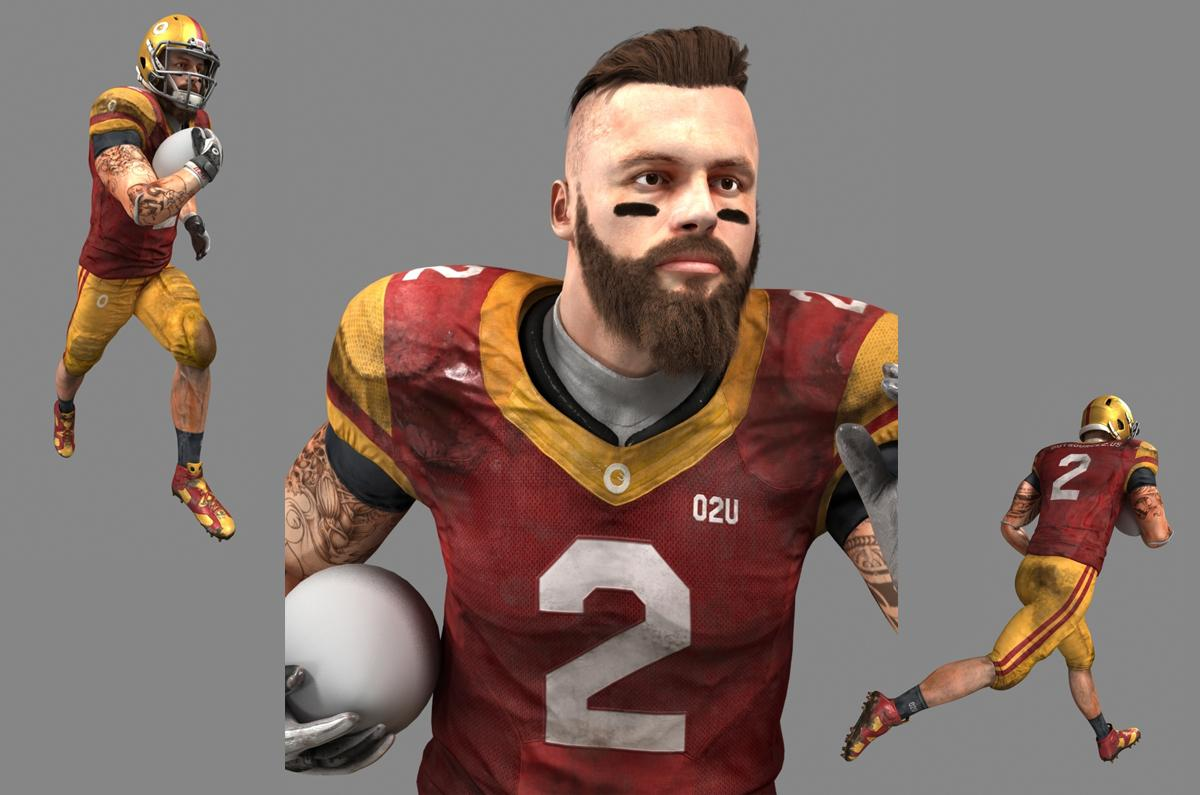 super bowl player 3d model rigged and animated turbosquid