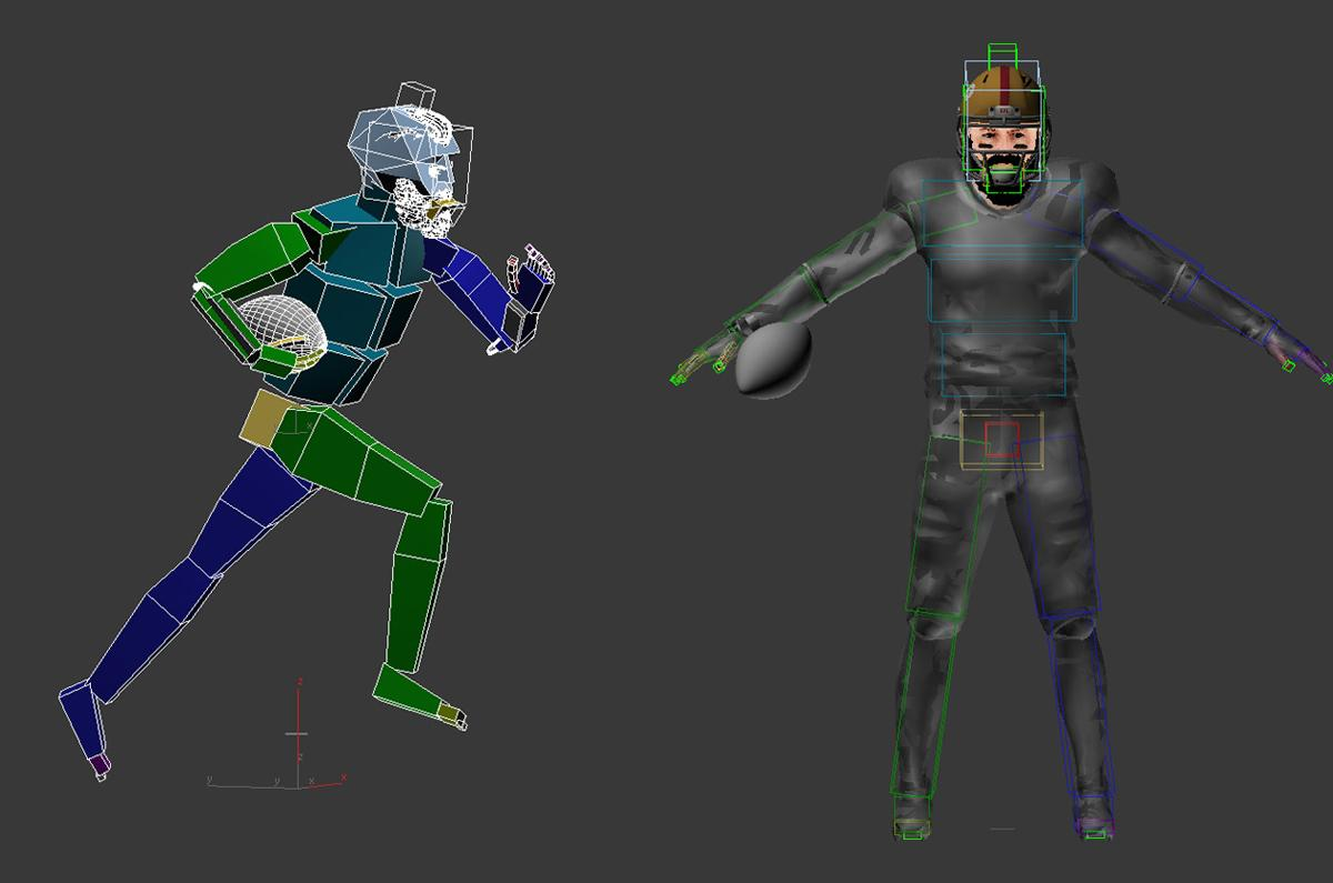 american football player running 3d model rigged and animated turbosquid