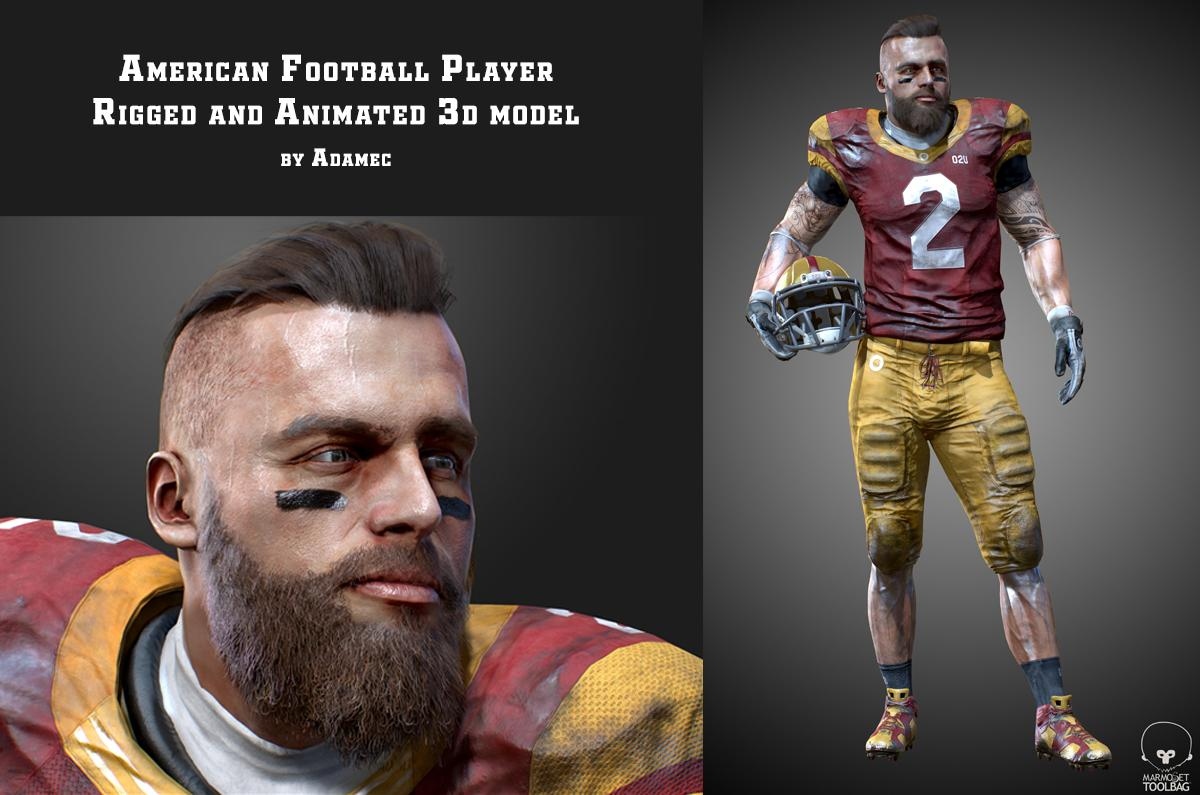 american football player rigged and animated 3d model turbosquid