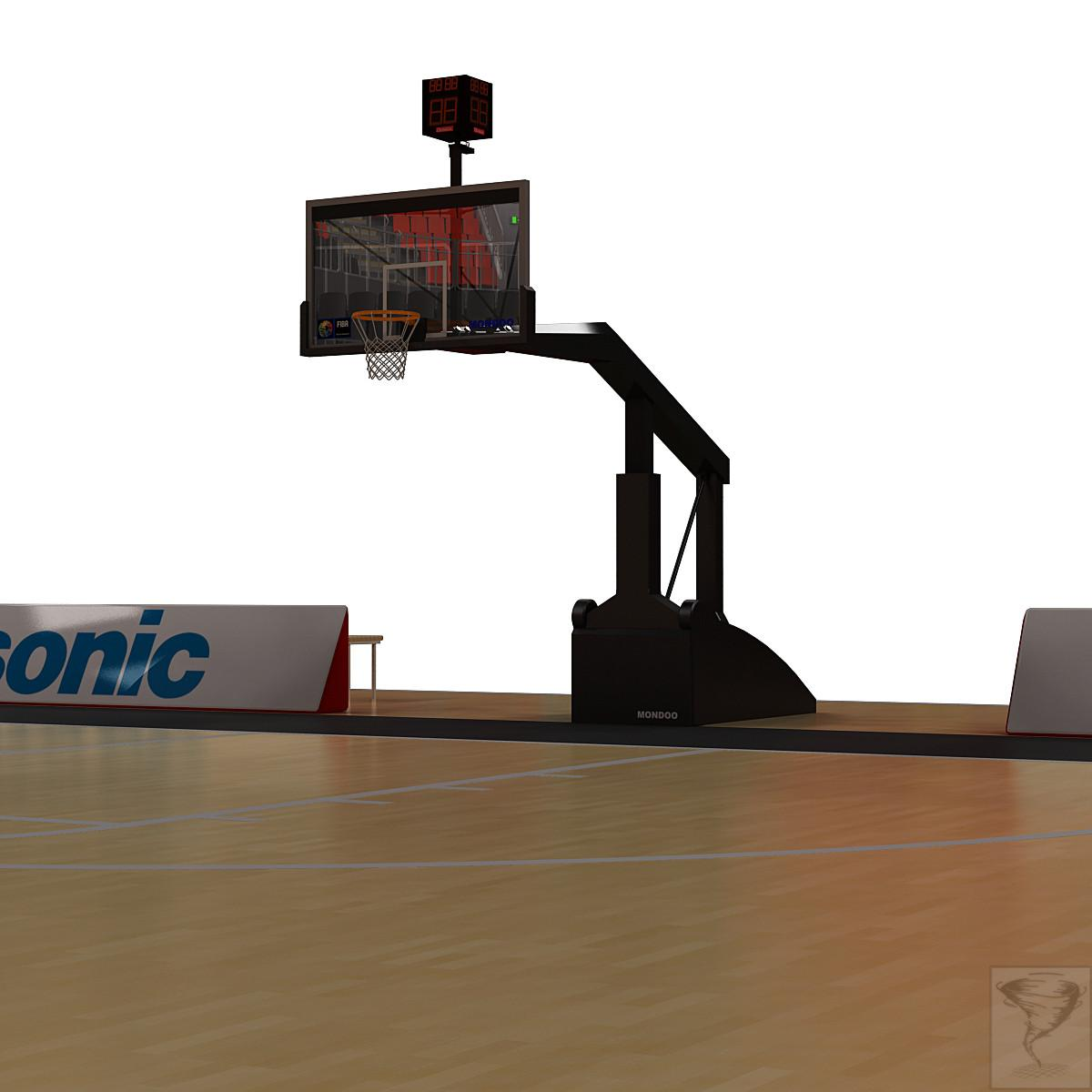 basket on basketball court 3d model turbosquid