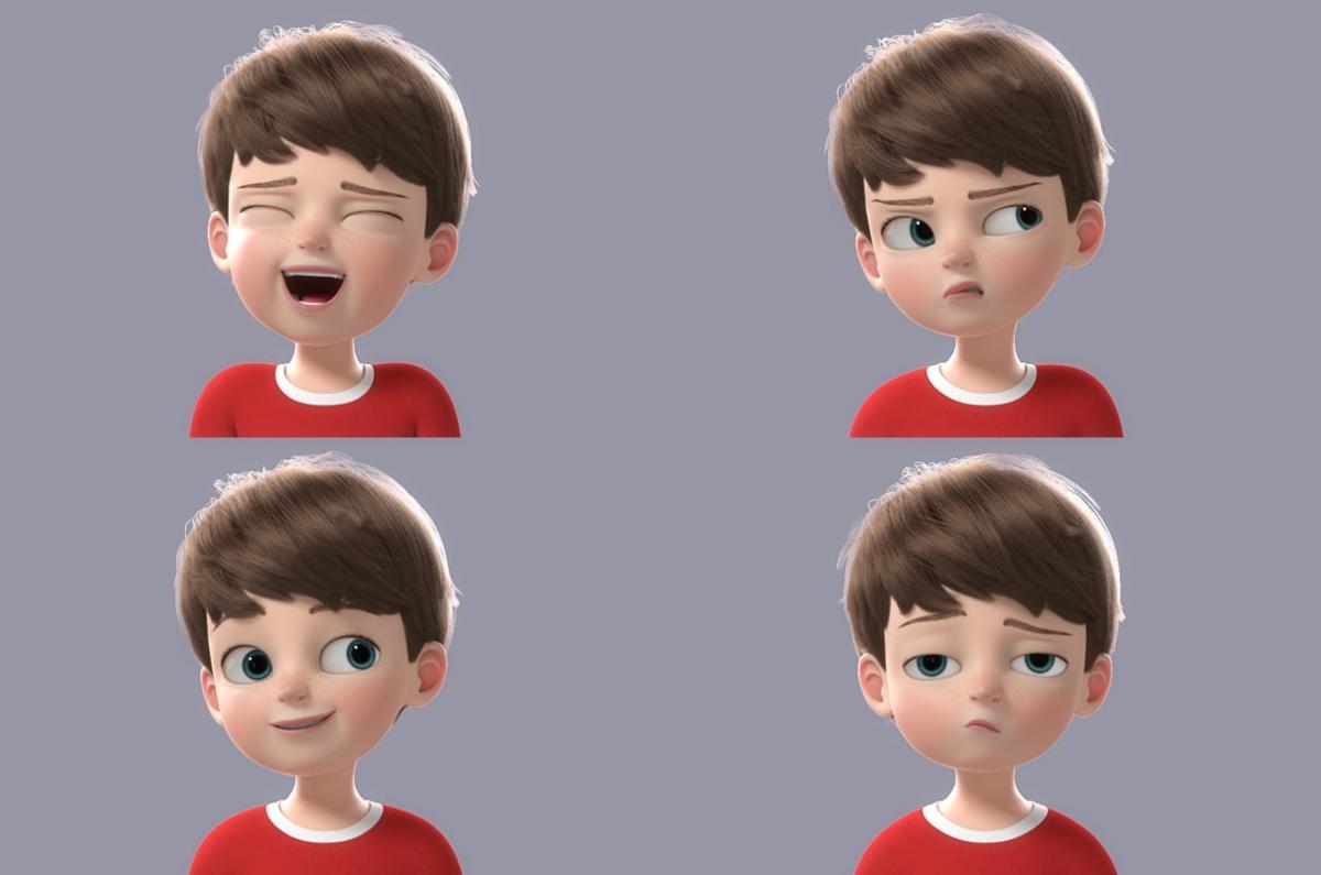 face expressions child 3d model turbosquid