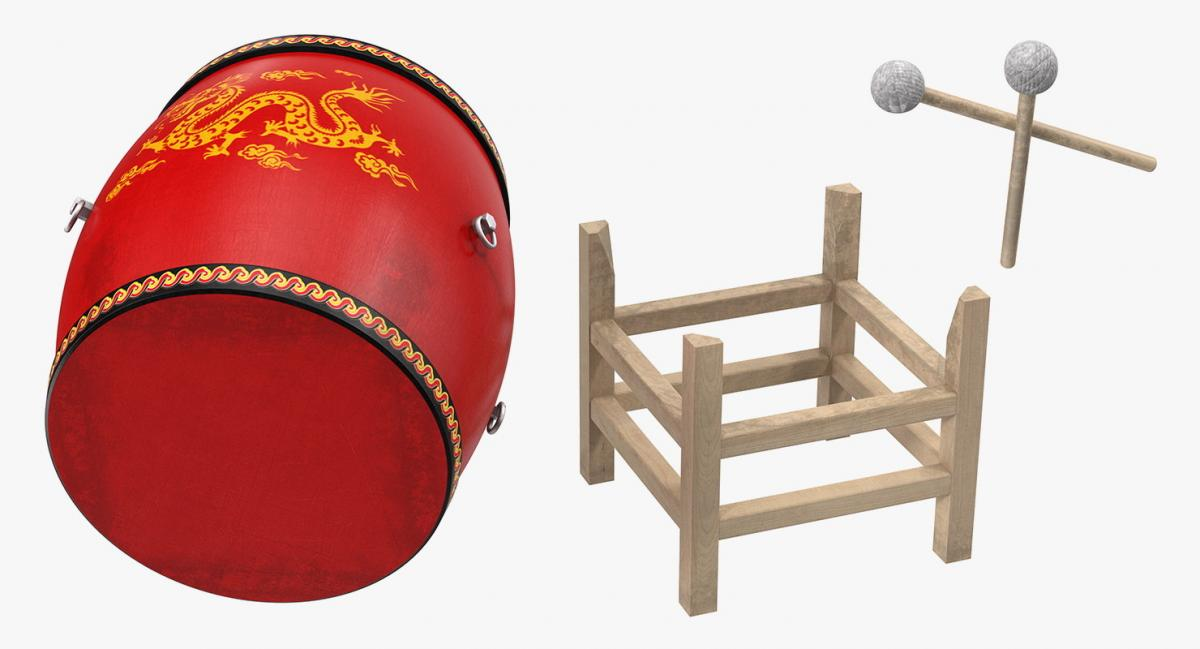 chinese drum with mallet and sticks 3d model turbosquid