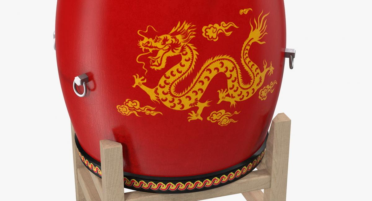red drum body decorated with Chinese zodiac dragon 3d model turbosquid