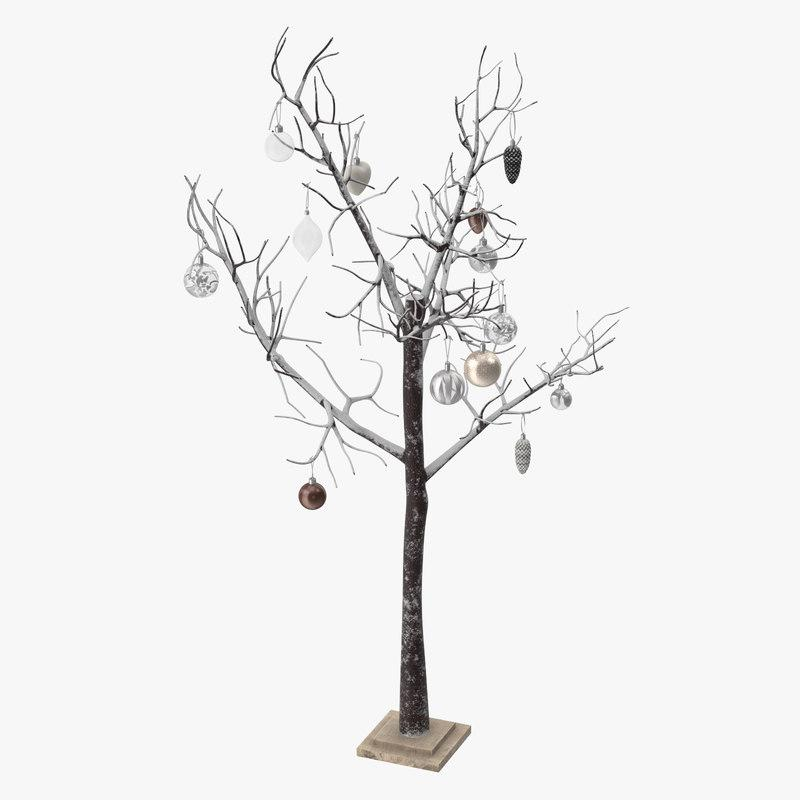 snowy tree with ornaments 3d model turbosquid
