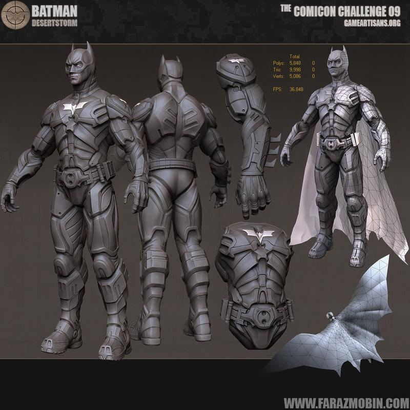 3d model of Batman animated