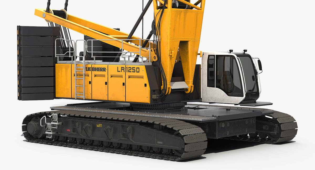 a crane with a set of crawler tracks 3d model turbosquid