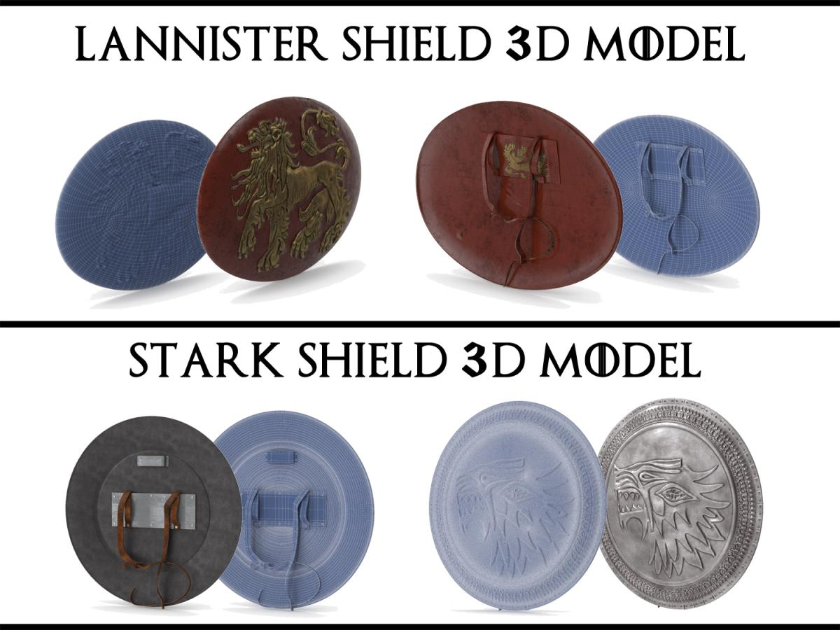 lannister and stark shields game of throne 3d model turbosquid