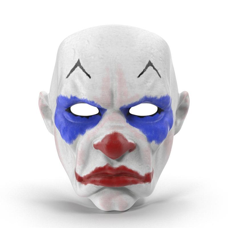 clown mask 3d model turbosquid