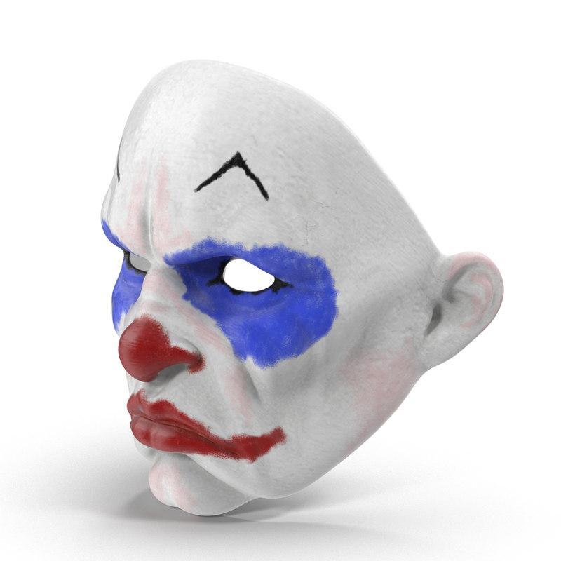 carnival clown mask 3d model turbosquid