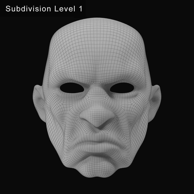 mask for spooky clown costume 3d model turbosquid