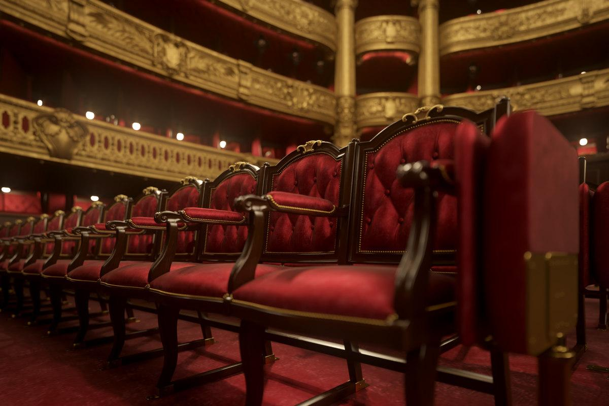 opera garnier seats 3d model turbosquid