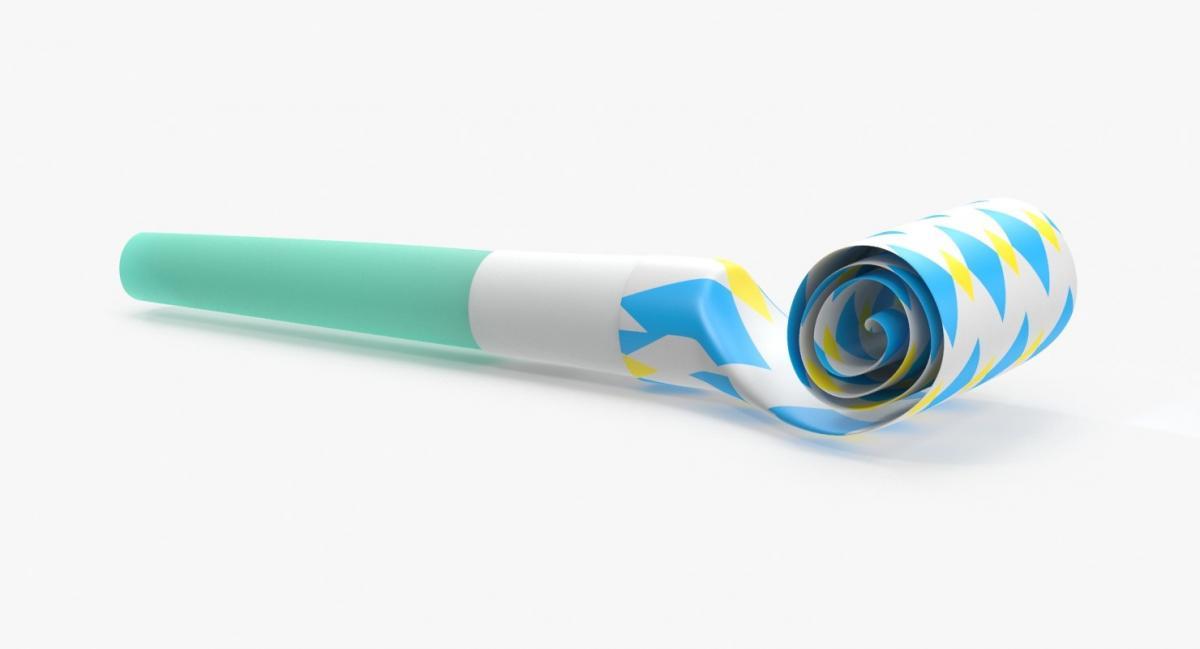 blue party horn 3d model turbosquid