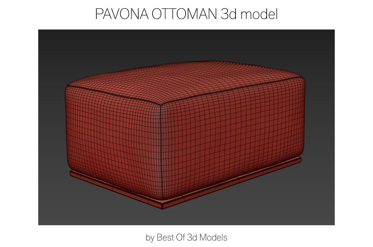 pouf 3d model restoration hardware