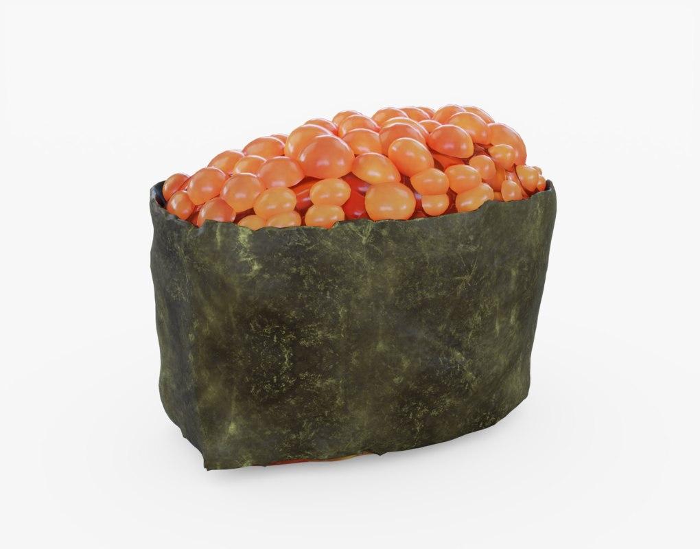 caviar sushi 3d model turbosquid