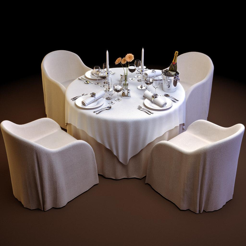 restaurant tabe and chairs 3d model turbosquid