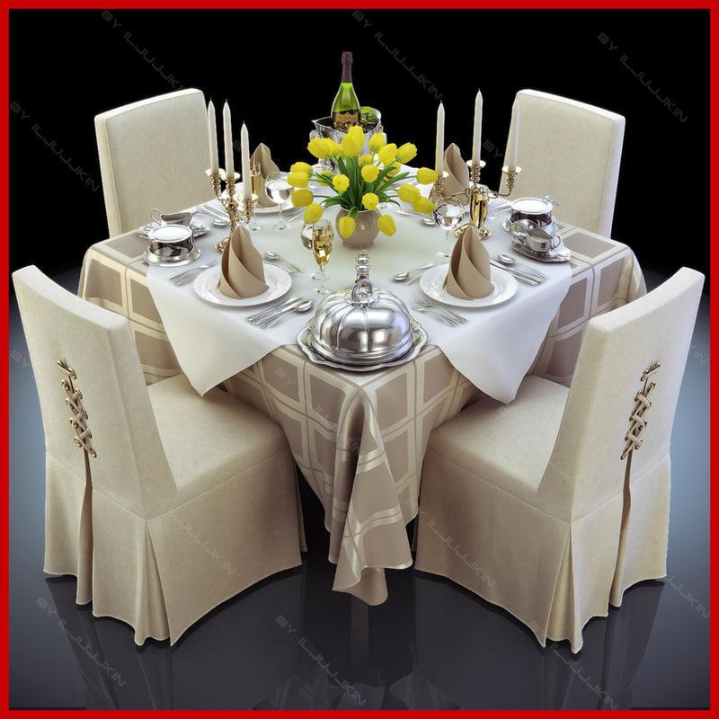 restaurant table 3d model turbosquid