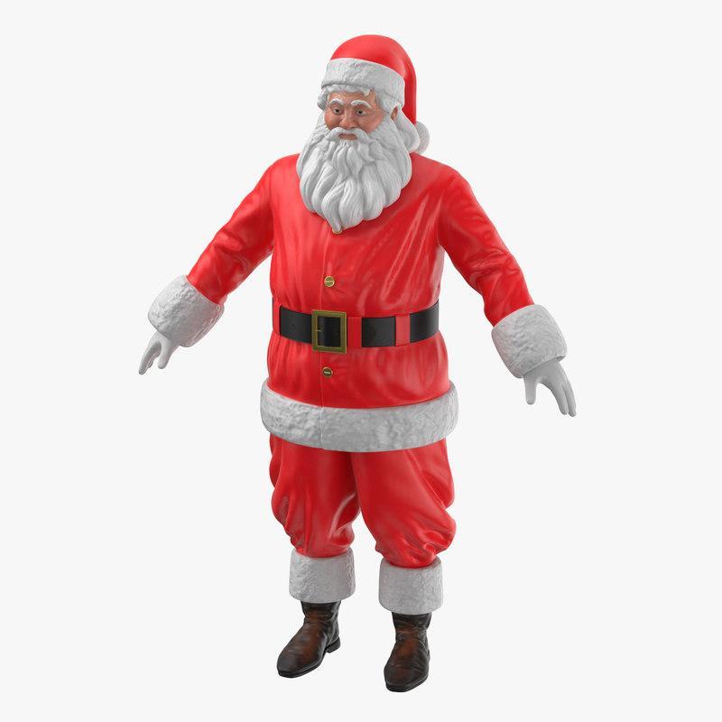 santa claus figurine 3d model turbosquid
