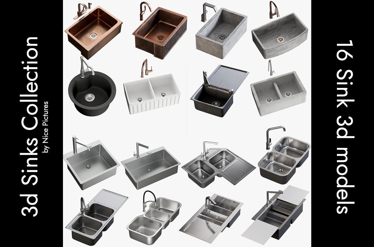 3d sinks collection turbosquid