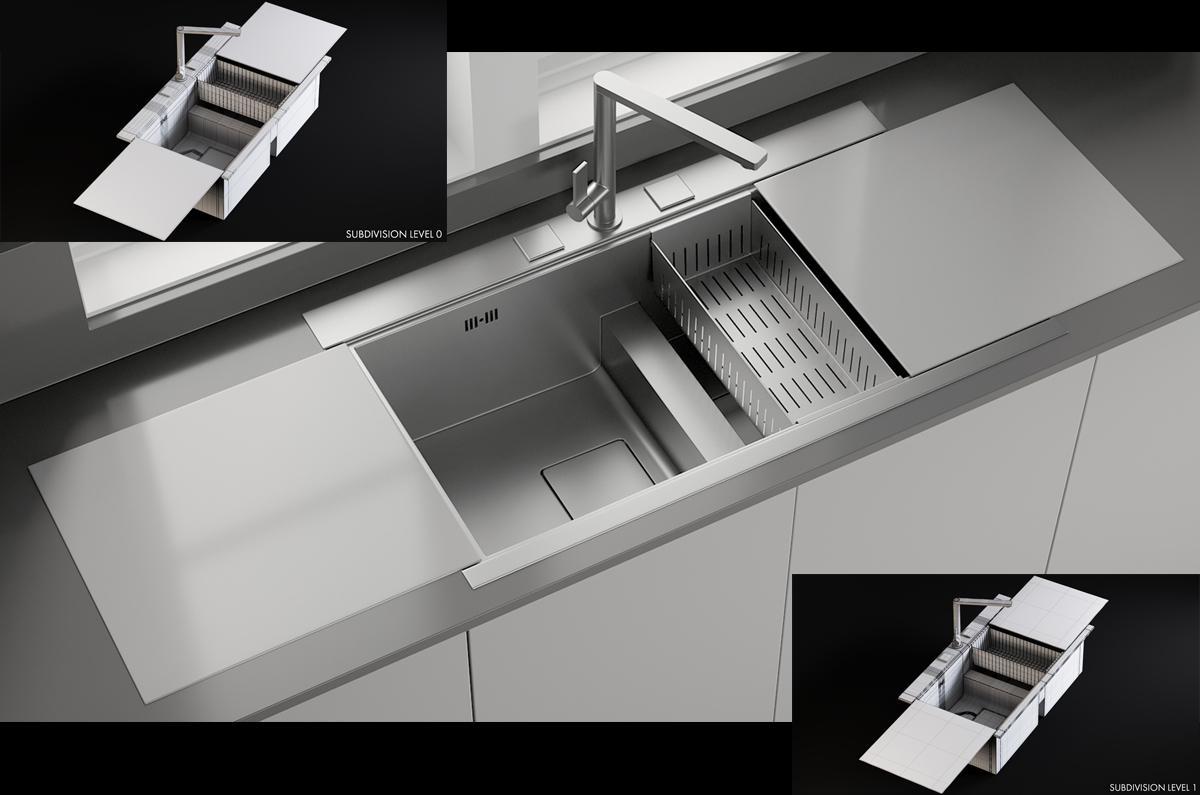 Sink Linea Mixer Smeg 3d model turbosquid