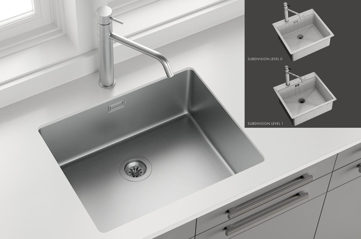 3d Sink Mira Mixer Inox turbosquid
