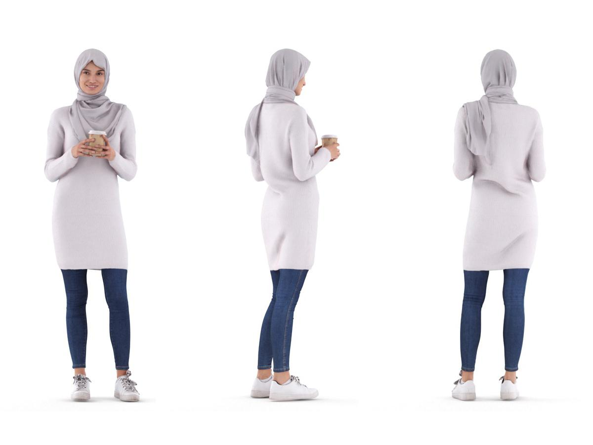 arab woman standing with a grey hijab and a coffee 3d model renderpeople