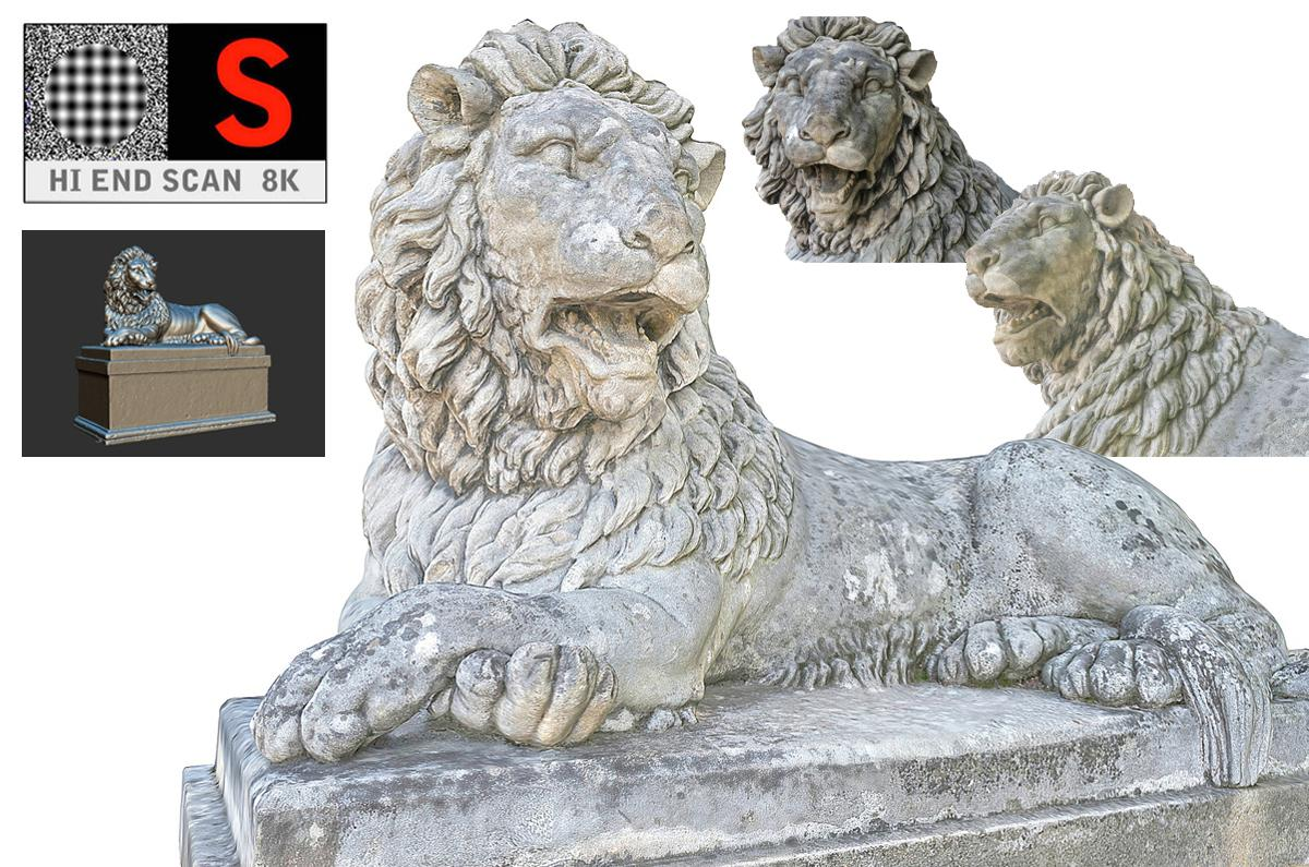 mythical lion statue scanned 3d model turbosquid